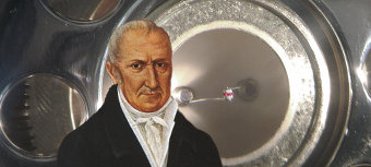 A painting of Alessandro Volta in front of a Wehnelt cylinder